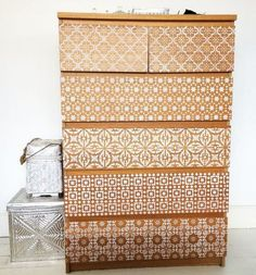 17 Awesome Ikea Malm Hacks that will Make your Day 17 Awesome Ikea Malm Hacks th. 17 Awesome Ikea Malm Hacks that will Make your Day 17 Awesome Ikea Malm Hacks that will Make your D Ikea Malm Dresser, Ikea Drawers, Chest Of Drawers, Dressers, Bedroom Drawers, Chest Dresser, Diy Bedroom, Stencil Decor, Stencil Fabric