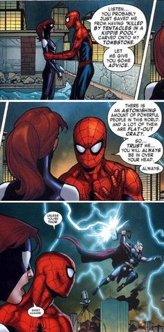 Norse God Priviledge! Spiderman advice: Thor is the only one that knows what he's doing. Marvel Avengers.