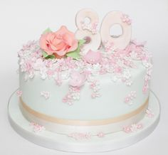 pastel blossom 80th birthday cake | by Hannah Loves Cake