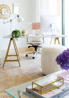 Stylish design equals happy workers, and BLND PR has definitely not missed the memo. The boutique public relations firm based out of Hermosa Beach, CA has mastered the art of working hard and playing hard. The firm's working environment is one that powers creative collaboration and with blush pink accents, glimmering gold office supplies, and playful art, the office does just that.