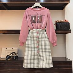 Cool Girl Casual Sweatshirt and Plaid Woolen Skirt 2 Piece set Fall Winter Portrait Print Bright Silk Pullovers and Skirt Suits Teen Fashion Outfits, Girly Outfits, Classy Outfits, Skirt Outfits, Cute Fashion, Asian Fashion, Modest Fashion, Look Fashion, Trendy Outfits