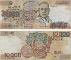 Portugal - 10000 escudos – Prof. Dr. Egas Moniz Entrada em circulação: 02-10-1989 Retirada de circulação: 31-12-1997
