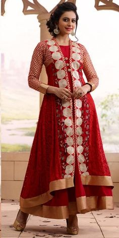 Awesome Red Georgette Anarkali Suit With Dupatta