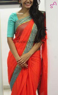 Coral Rose   Studio Ayana Saree Blouse Patterns, Saree Blouse Designs, Indian Silk Sarees, Simple Sarees, Sari Dress, Saree Trends, Half Saree, Saree Styles, Indian Ethnic Wear