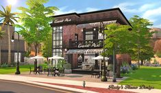 Deli & Grocery Store at Ruby& Home Design via Sims 4 Updates Lotes The Sims 4, Sims Cc, Casas The Sims 3, Sims 4 Restaurant, Decoration Restaurant, Sims Building, Building Games, Sims 4 House Design, Sims House Plans