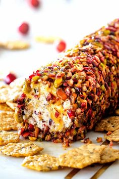 10 Minute prep creamy, sweet and tangy Cranberry Pistachio Cheese Log is the EASIEST yet most impressive appetizer you will ever make! And it can be made DAYS in advance so it's the perfect appetizer for Thanksgiving, Christmas or any holiday party! Make Ahead Christmas Appetizers, Thanksgiving Appetizers, Holiday Appetizers, Healthy Appetizers, Thanksgiving Recipes, Appetizer Recipes, Snack Recipes, Christmas Desserts, Appetizer Ideas