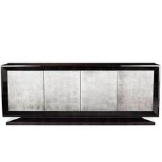 Hanover Side Cabinet, Dark Tinted Macassar Ebony and Distressed White Gold Leaf
