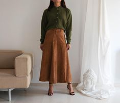 Vintage camel genuine suede leather maxi/mid calf skirt.size | Etsy Pastel Yellow, Knit Skirt, Midnight Blue, Suede Leather, Vintage Black, Calves, Beautiful Dresses, Cashmere, Skirts