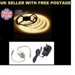 FULL KIT Warm White 5M SMD LED Strip Light + Power Adaptor + FREE In line Dimmer
