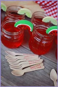 10 Fun Baby Food Jar Projects That Will Save You Money Petite dessert jars…and possibly the best way to make and serve jello. Fun Baby Food Jar Projects That Will Save You Money Baby Shower Watermelon, Watermelon Birthday Parties, Fruit Party, Watermelon Party Decorations, Picnic Party Decorations, Picnic Parties, Parties Food, Red Party, Outdoor Parties