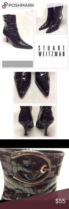 """Stuart Weitzman patent croc ankle boots SZ 6M Patent leather Stuart Weitzman point toe boots with zip up side, croc pattern, and silver buckle.  Color is like a tortoise. Pre loved in good shape. 3"""" heel and floor to top is just over 8.5"""" high. Stuart Weitzman Shoes Ankle Boots & Booties"""