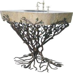 """Quiescence Organic Suites Embracious Aspen Forest Iron Pedestal Bathroom Sink Sink Finish: Silver Shimmer, Sink Size: 25""""-32"""""""
