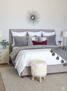 Fall/Winter Bedroom Updates - gray and white master bedroom