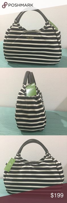 NWT: Kate Spade Striped Bag Kate Spade Small Kerra Classic, Nylon Bag. Light weight, durable tote. Black and white stripes. Dimensions coming soon. kate spade Bags