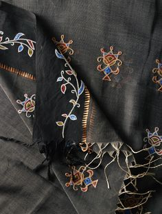 Cotton Blouses, Cotton Silk, Indian Embroidery, Hand Embroidery, Kurta Designs, Blouse Designs, Daily Wear, Alexander Mcqueen Scarf, Black And Grey