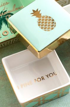 Free shipping and returns on Rosanna 'I Pine For You' Porcelain Trinket Box at Nordstrom.com. A playful pun makes an unexpected finish inside a tropically inspired porcelain trinket box.