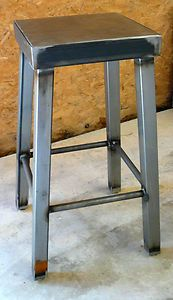 Galvanized steel and raw metal Bar Stool by Modern Industrial