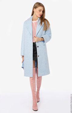 Купить Фактурное шерстяное пальто прямого силуэта - бирюзовый, однотонный, пальто женское, пальто