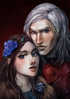 Rhaegar Targaryen and Lyanna Stark by Mary Makinari on ArtStation. Winter Is Here, Winter Is Coming, Rhaegar Y Lyanna, Game Of Thrones Artwork, Game Of Trones, Couple Art, Art Inspo, Fantasy Art, Fan Art