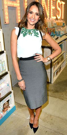 Last Night's Look: Love It or Leave It? Jessica Alba - pale blue top w embroidery by Andrew Gn and gray pencil skirt