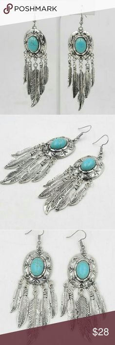 Vintage Silver/Turquoise Feather Bohemian Earrings Brand New,  NWT,  Women's Vintage Turquoise Feather Tassel Bohemian Earrings ♡Condition: 100% Brand new & high quality  ♡Material: Silver plated ♡Size: 2.4*9.7cm ♡Quantity: 1pcs Set Earrings Jewelry Earrings