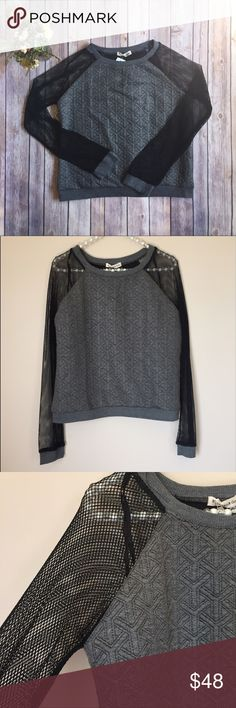 LF Mika & Gala Sweater with Cable Mesh Sleeves LF Mika & Gala Sweater with Cable Mesh Sleeves. LF, Mika & Gala quilted long-sleeved gray sweater with black cable knit mesh sleeves. Size: 🇦🇺 8, 🇺🇸 S, NWT.   ⭐️ Bundle & Save, Posh Rules Only ⭐️ All Offers Accepted or Countered LF Tops