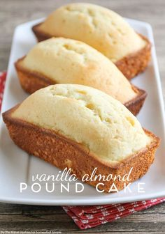 Vanilla Almond Pound Cake - An Easy Dessert Recipe by Somewhat Simple(Cake Recipes Easy) Mini Desserts, Just Desserts, Delicious Desserts, Dessert Recipes, Yummy Food, Plated Desserts, Light Summer Desserts, Cupcake Recipes, Drink Recipes