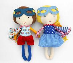 RAG DOLLS, twin dolls, superheroes, doll pair, dolls, fabric dolls, handmade doll, boy doll, genderneutral toys, toys, dollsanddaydreams, soft dolls, softtoy,