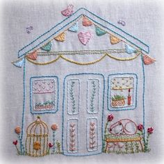 My wonky shed embroidery pattern pdf by LiliPopo on Etsy