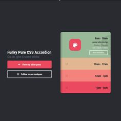 Funky Pure CSS Accordion Coding Accordion Animation Code CSS CSS3 HTML HTML5 Menu Navigation Resource SCSS Snippets Transition Web Design Web Development