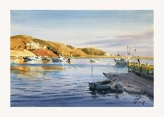 Harbor Light by Andy Evansen, Watercolor, 14 x 20 Watercolor Sunset, Watercolor Bird, Watercolor Landscape, Landscape Art, Landscape Paintings, Watercolour Tutorials, Watercolor Artists, Watercolor Techniques, Watercolor Paintings