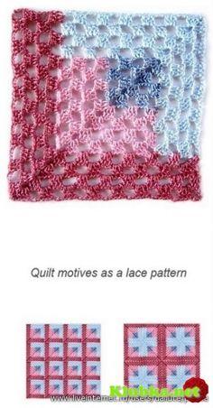 """Мотивы крючком Des photos nettes, des diagrammes très clairs, et plein d'idées de """"blocs"""" au crochet ! Crochet Quilt Pattern, Crochet Blocks, Crochet Diagram, Crochet Squares, Crochet Motif, Crochet Stitches, Knit Crochet, Granny Squares, Crochet Afghans"""