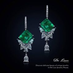 "De Laur Jewelry House (@delaurjewelry) on Instagram: ""Mesmerizing butterfly shaped earrings with emeralds and diamonds from Limited Edition of De Laur."