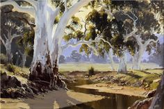 Flinders Gums - 90 x 60 © Copyright John Wilson Australian Painting, Australian Artists, Landscape Art, Landscape Photography, John Wilson, Tree Paintings, Australian Bush, Tree Trunks, Learn To Paint