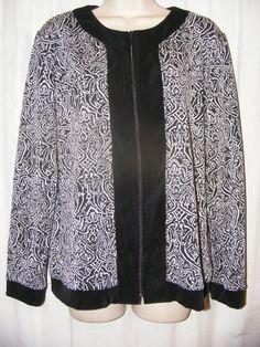 Chico's Travelers Black Gray Acetate Blend Stretch Slinky Jacket 2 M L #ChicosTravelers #BasicJacket