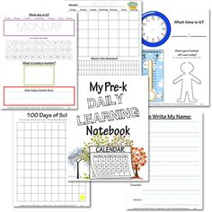 Preschool Daily Learning Notebook - Free Printable to from Confessions of a Homeschooler - Calendar, Time, Temperature, etc