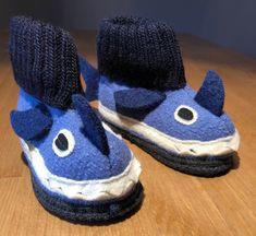 01dd63e9ebf2ec Kinder Hausschuhe Hüttenschuhe Hai blau von Made by Hans Natur