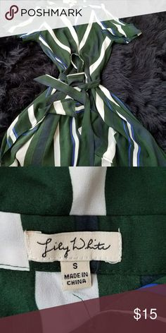 Green and white stripe spring dress size small Hardly wore green and white dress ties in front or back size small Dresses Maxi