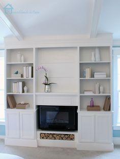 Built in bookcases for living room -Remodelando la Casa