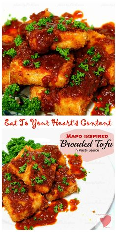 Looking for a no-meat alternative? Try MAPO INSPIRED BREADED TOFU IN PASTA SAUCE! Perfect for Meatless Mondays. Now you can eat to your heart's content!