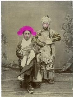 Chinese Actors, Beijing Opera Vintage print, China Tirage citrate 9*12 - Circa 1890
