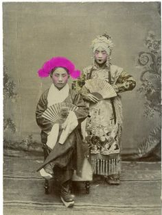 Chinese Actors, Beijing Opera Vintage print, China Tirage citrate 9*12 - Circa 1890