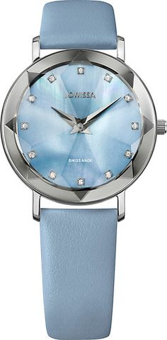 Facet Silver/Light Blue Mother-of-Pearl mm Ladies' Watch Leather Light Blue Ladies Watches, Light Blue, Pearls, Glass, Silver, Leather, Accessories, Collection, Women