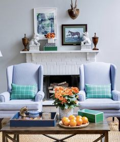 An inherited pair of wingback chairs mingles with equestrian accents for a sentimental and traditional style that nods to the homeowner's Kentucky heritage. Southern Ladies, Great Rooms, Equestrian, Small Spaces, Home And Garden, Traditional, Interior Design, Living Room, Wingback Chairs