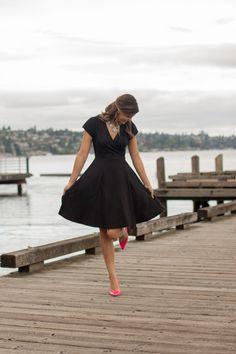Little Black Dress | Pop of Pink | Classic Wrap Dress | Pockets | Custom Made by Eshakti | www.stylemissmolly.com
