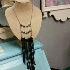 Tassel fringe necklace Silver and brown fringe necklace Jewelry Necklaces