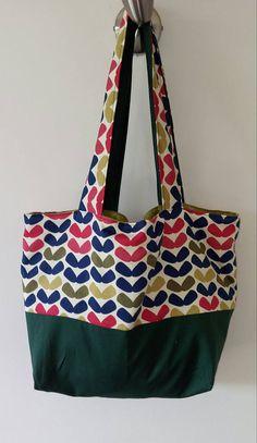 TOTE BAG handmade fabric shoulder bag reversible