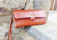 Leather Clutch Bag , leather handbag, Bags and purses, Leather Clutch Purse, Caramel Leather Clutch,Wristlet