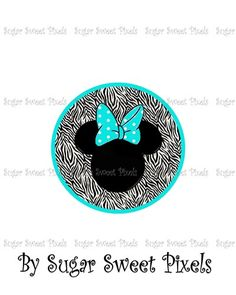 Aqua Zebra Minnie Mouse DIY Digital Iron On Transfer Design  | SugarSweetPixels - Digital Art  on ArtFire