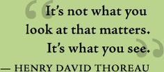 It's not what you look at that matters. It's what you see. -Henry David Thoreau
